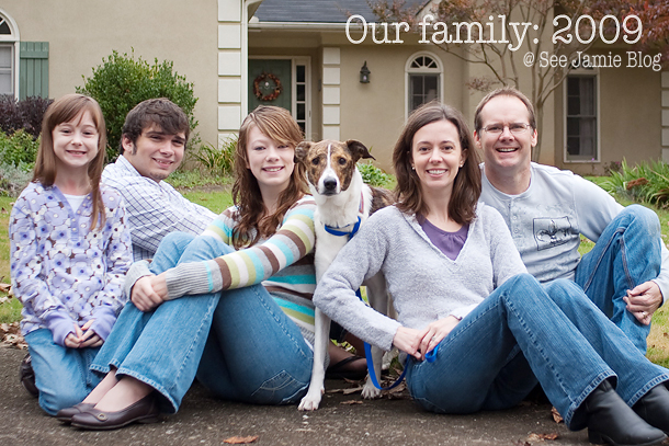 Family photo soon after adopting 14 year old Lindsey