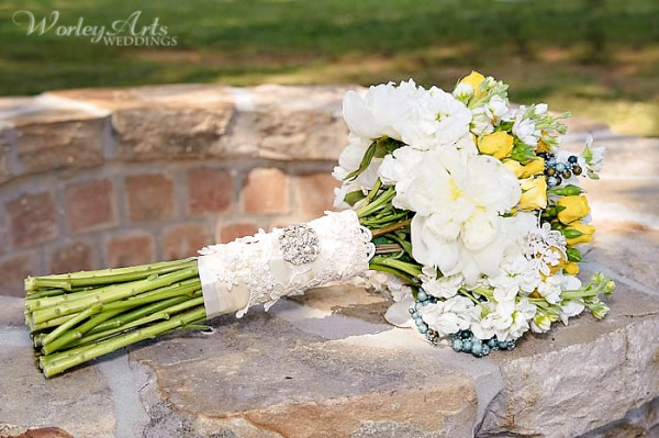 wedding bouquet with brooch