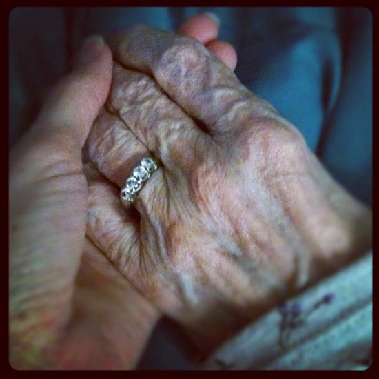 holding Granmama's hand