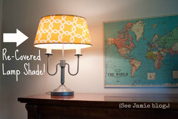 re-covered lamp shade