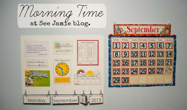 morning board and calendar at See Jamie Blog