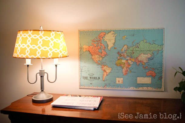 lamp and map