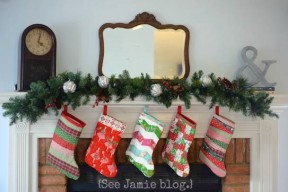 Christmas stockings on mantle