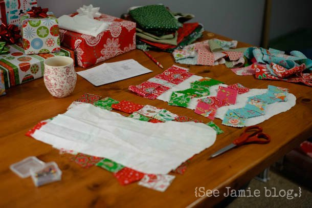 piecing quilted Christmas stockings