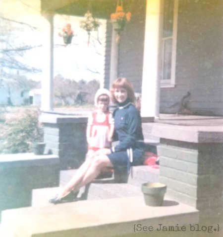 on the porch steps with my mom