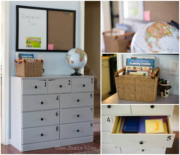 homeschool craft cabinet organization