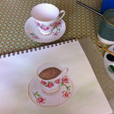 watercolor teacup