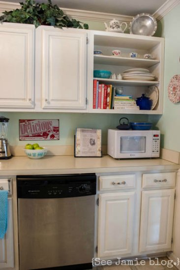 DIY open shelving painted cabinets