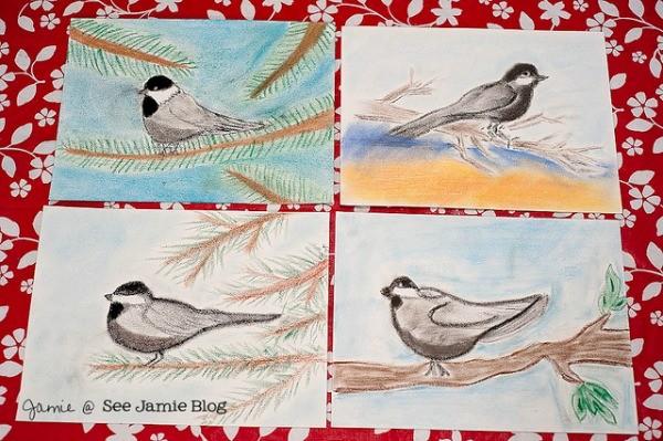 chalk pastel birds