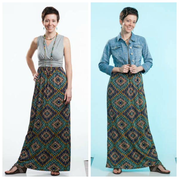 Stitch Fix maxi dress with denim jacket