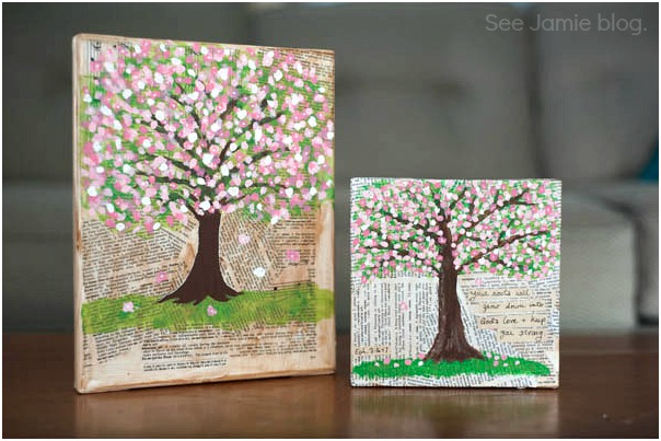 mixed media spring trees