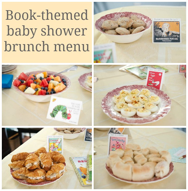book themed baby shower brunch menu