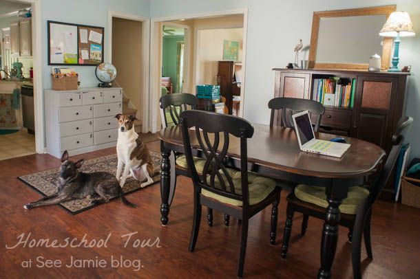 Homeschool room 2015 see jamie blog for Homeschool dining room ideas
