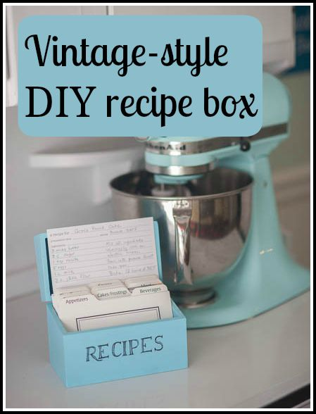 vintage style DIY recipe box
