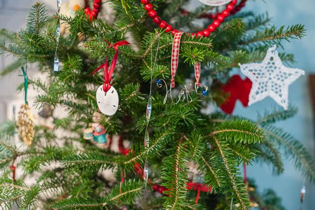 Christmas tree sand dollar ornament