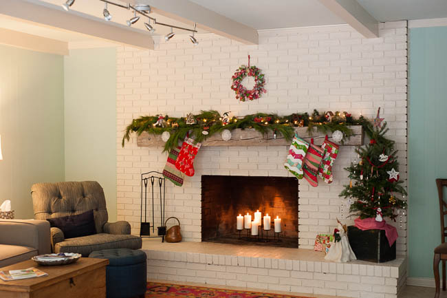 Christmas home fireplace mantle
