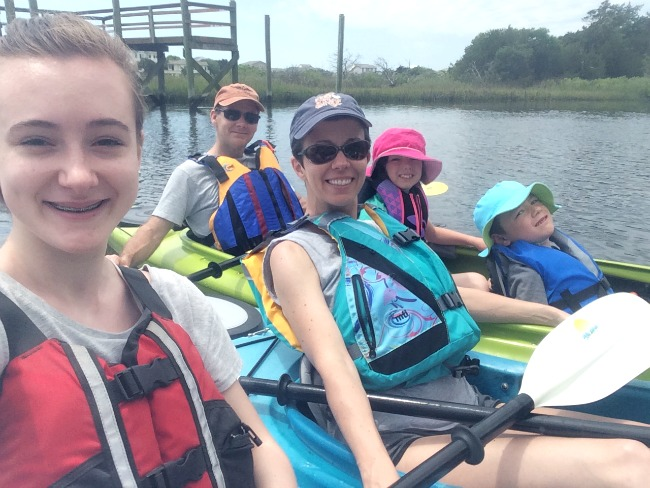 mother's day kayaking with the family