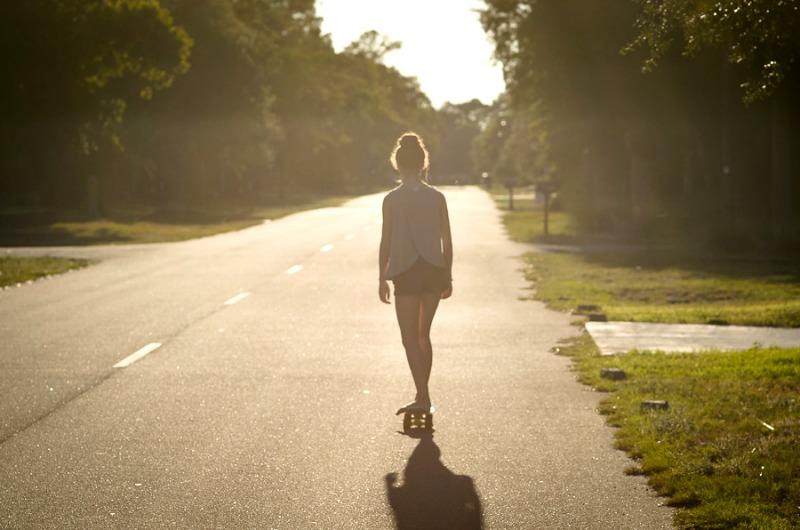 sunset skateboarding