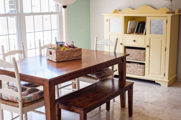 Simplified cottage-style homeschool room