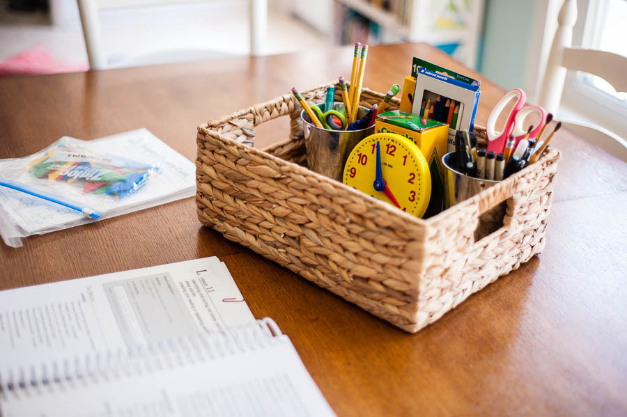 homeschool room supplies basket