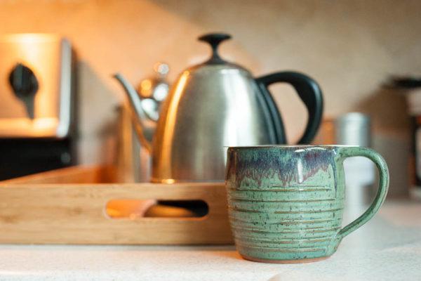 hot tea mug and kettle