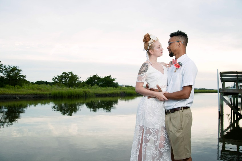 wedding couple by the water