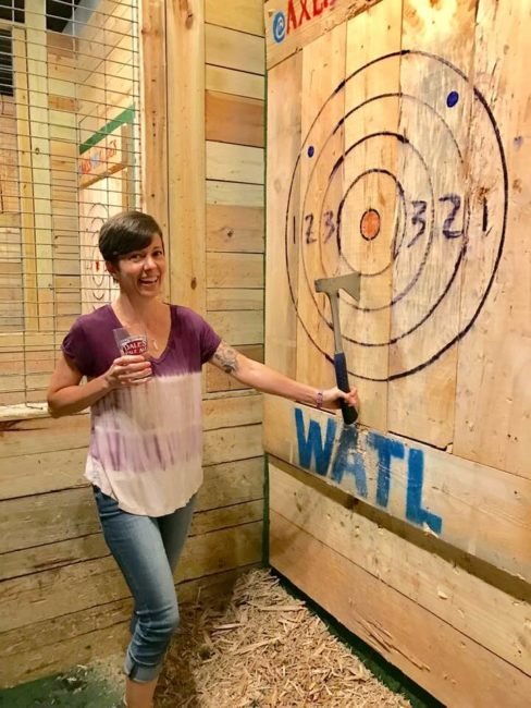 date night fun at an ax-throwing bar