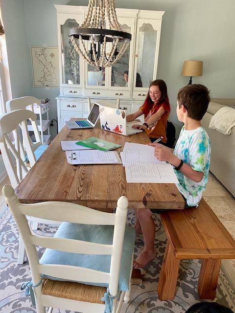 homeschool kids at work